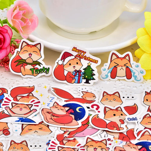 40pcs kawaii Cute Cartoon fox Decoration Adhesive Stickers Diy Paper Stickers Diary Sticker Scrapbook Stationery Stickers