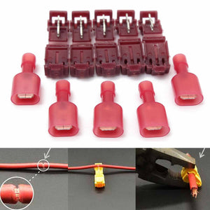40pcs Red Wire Cable Connectors T-Taps & Male Insulated Quick Splice Lock Wire Terminals Connectors Set 22-18AWG 0.5-1.5mm2