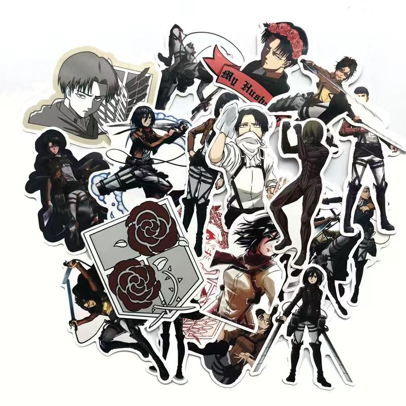 42Pcs/lot Japanese Anime Attack on titan Mikasa Levi Eren Stickers For Car Phone Luggage Laptop Bicycle Decal Sticker