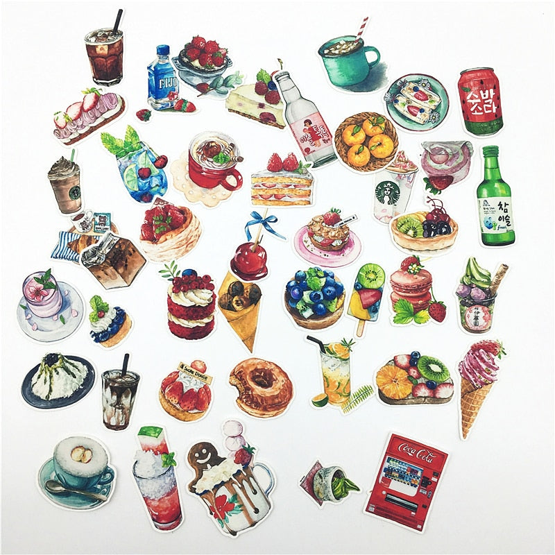 42pcs Hand Drawing Watercolor Cute Food and Drink Decorative Stickers  Notebook Planner Scrapbooking, DIY Paper Sticker
