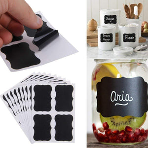 48 PCS Chalkboard Labels Removable Waterproof Blackboard Sticker Label for Jars Glass Bottle