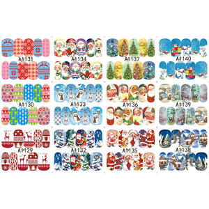 48 sheets Nail Stickers Set Christmas Winter Snowflake Women Red White Slider Gift Manicure Foil For Nail Art Decal SAA1129-1176
