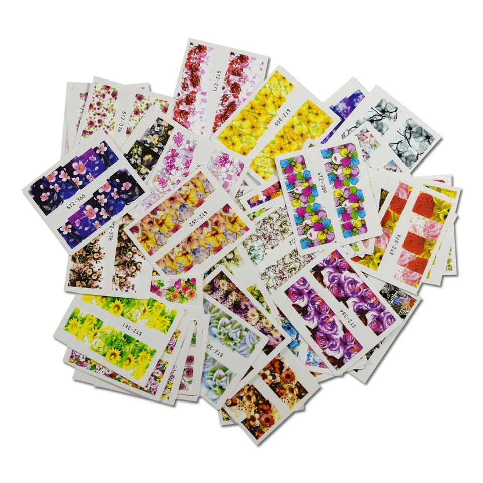 48pcs Mixed 48 Designs Flower Nail Art Full Wraps Nail Foils Nail Sticker Decals Water Transfer Manicure Slider Tips STZ352-391