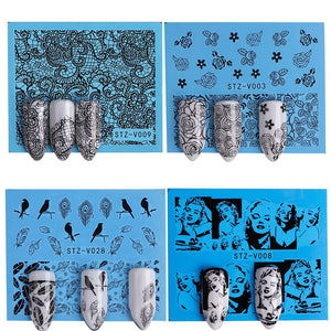 40pcs Nail Sticker White Black Water Decal Set Sexy Lace Flower for DIY Slider Tips Styling Tool Nail Decoration Set STZV001-048