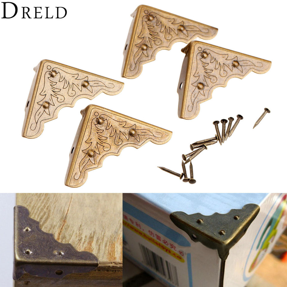 4 x Jewelry Chest Wood Case Gift Box Decorative Feet Leg Corner Protector Guard