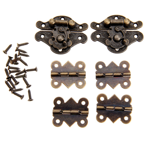 4Pcs Cabinet Hinges +2Pcs Antique Bronze Jewelry Wooden Box Case Toggle Hasp Latch Furniture Accessories Iron Vintage Hardware