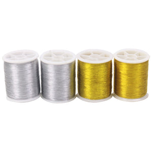 4Pcs Gold/Silver 109 Yards Durable Overlocking Sewing Machine Threads Polyester Cross Stitch Strong Threads for Sewing Supplies