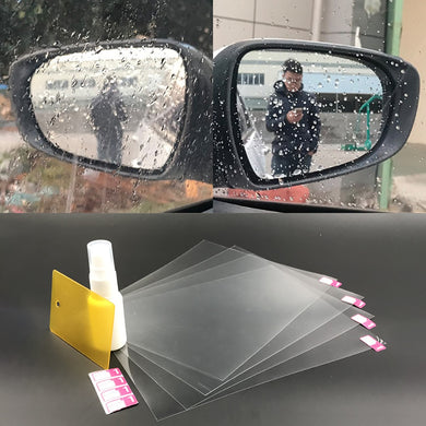 4Pcs/Set Anti-Rain Agent Hydrophobic Rearview Mirror Rainproof Film Safe Driving Convenience Scratch-Resistent