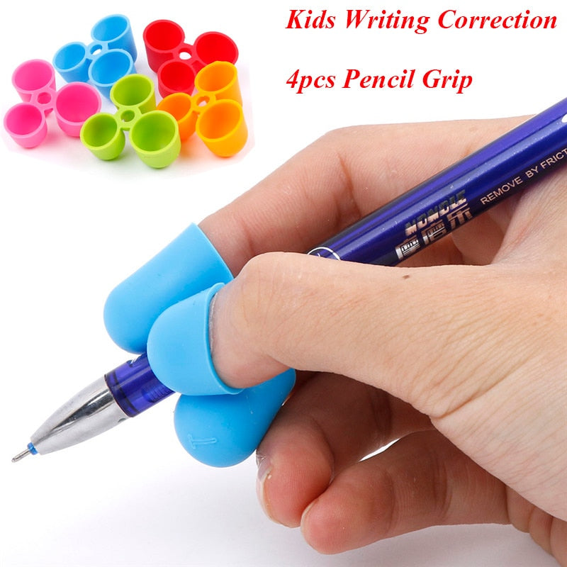 4Pcs/Set Pencil Grip Ergonomic Writing Aid for Kids Learning Hold Pen Writing Posture Correct Fit on Pencil Pen Crayon Drawing