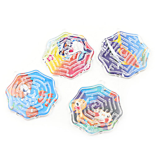 4Pcs/lot Octagon Shape Steel Maze Puzzle Toys Ball Funny Kids Stress Toy Money Maze Bank Saving Fun Brain Game New
