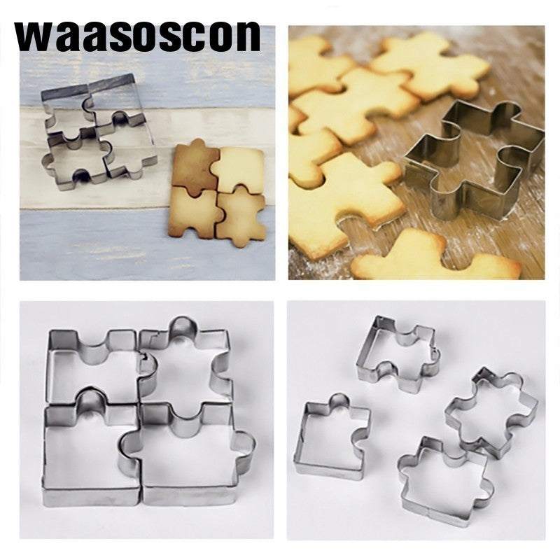 4Pcs/set 3D Stainless Steel Cookie Puzzle Shape Cookie Cutters Toast Cutter DIY Biscuit Dessert Bakeware Cake Fondant Mold