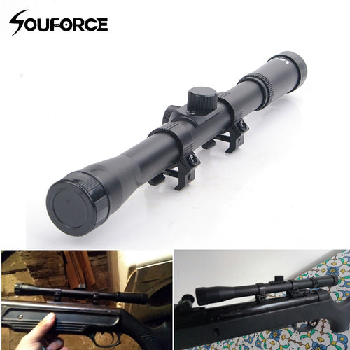 4X20 Scope Sights Riflescope 20mm Lens Fit 9-11mm Rail Airgun Air Rifle for Scopes Mounts Airsoft Guns Hunting