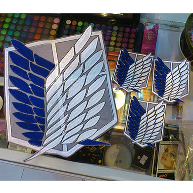 4pcs/set Attack on Titan Survey Corps Wings Cloth Stickers Anime Ver. Recon Corps Emblem Shingeki no kyojin Cosplay Blue Badges