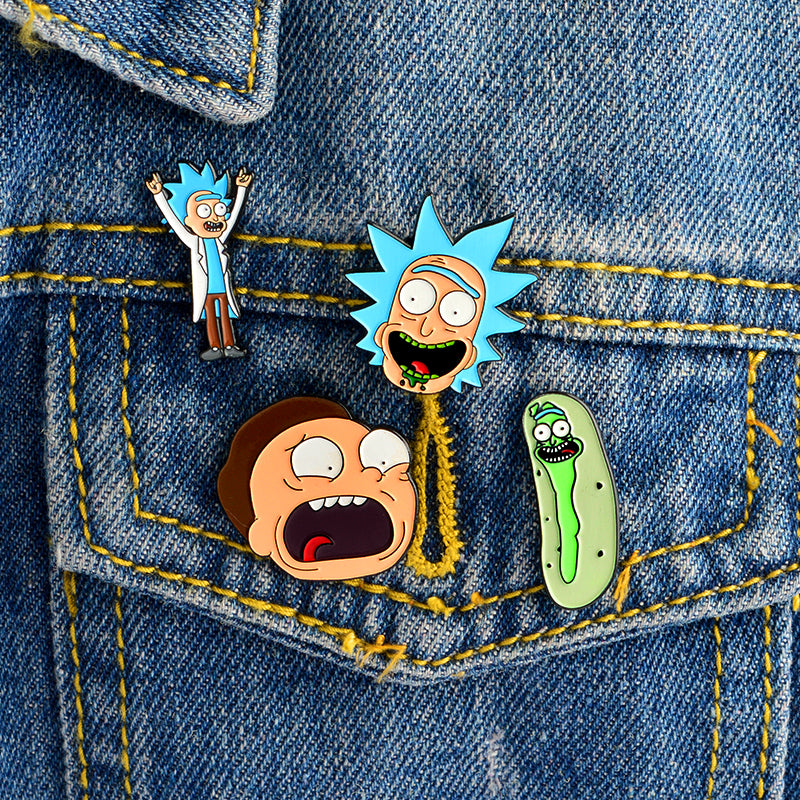 4pcs/set Cartoon character Brooches Soft Enamel Pins Clothes Button Pin Badge Jewelry for Friends Kids