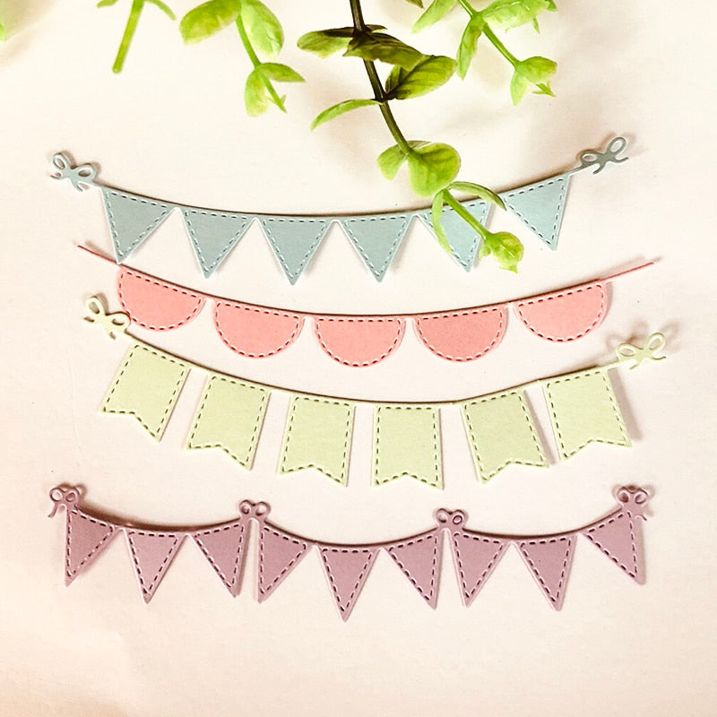 4pcs/set Triangle Circle banners Metal Cutting Dies Stencils for DIY Scrapbooking Album Paper Card Decorative Craft Die Cuts