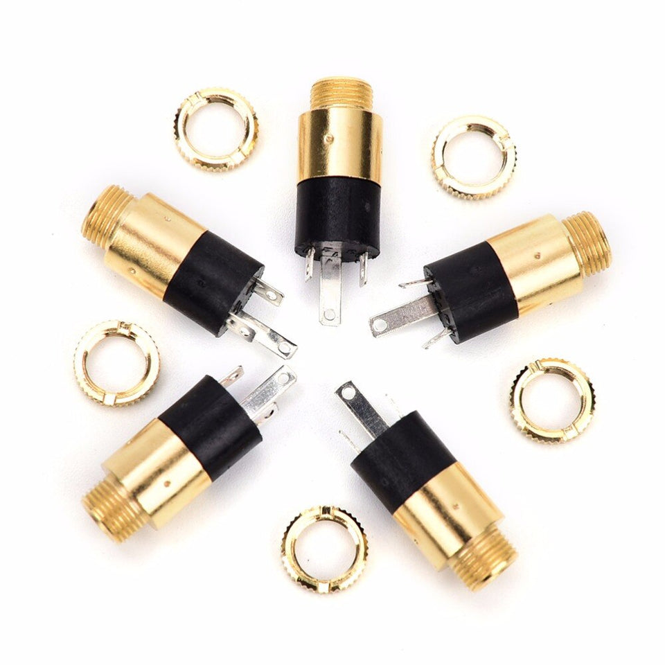 5PCS PJ392 3.5mm Stereo Female Sockect Jack 3.5 Audio Headphone Connector gold