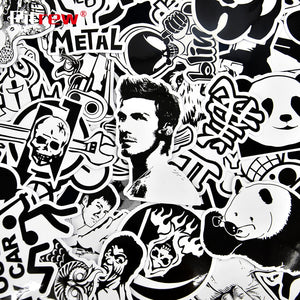 50 PCS Black White Funny Car Stickers Vinyl Decal Car Styling Bicycle Travel Luggage Home Laptop Sticker JDM Car Accessories