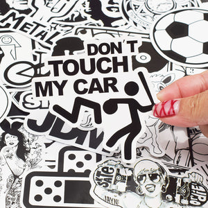 50 PCS Random Black and White Sticker Graffiti Punk JDM Cool Stickers for Kids Sticker on Laptop Skateboard Suitcase Bike Helmet