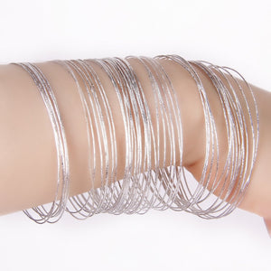 50 Pcs Silver Color Thin Hoop Cuff Bracelets Bangles For Women Hiphop Pulseiras Argola Wristband Pulseras Mujer Moda Accessories