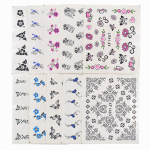 50 Sheets Mixed Styles Watermark Flower Cat Etc Stickers Nail Art Water Transfer Tips Decals Beauty Temporary Tattoos Tools