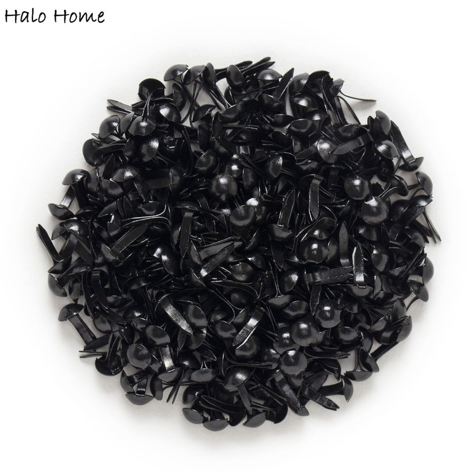 "500 Pcs Black Pastel Round Brads Scrapbooking Embellishment Card Making DIY Home Decor Tools Paper decoration 9x5mm(3/8""x1/4"")"
