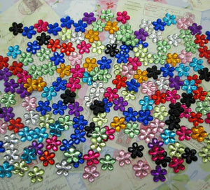 500Pcs 10mm Acrylic Mixed Bling Flower Decoration Crafts Flatback Cabochon Scrapbooking Fit Hair Clips Embellishments Beads Diy