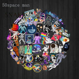 50PCS Outer Space Stickers Toys for Children Alien UFO Astronaut Rocket Ship Planet Sticker to Scrapbooking Skateboard Laptop