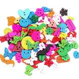 50Pcs Mixed 2 Holes Multicolor Wood Sewing Buttons For Kids Clothes Scrapbooking Decorative Botones Needlework DIY Accessories