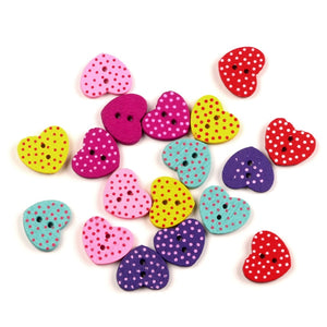 50Pcs Mixed Heart Wood Shape Apparel Sewing Wooden Buttons For Kids Clothes Scrapbooking Decorative Needlework DIY Accessories