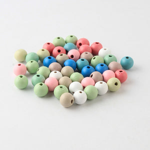 50Pcs/lot Natural Round Wood Beads 12mm Handmade Wooden Loose Bead for Necklace Bracelet Jewelry Making