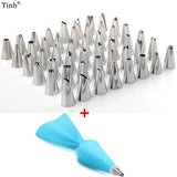 50pc/set Dessert Decorators Silicone Icing Piping Cream Pastry Bag +48 Stainless Steel Piping Icing Nozzle for Cream Pastry Tool