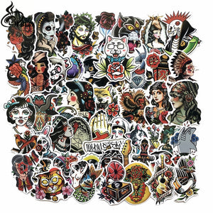 50pcs/lot Cool Color old school tattoo Stickers for Laptop Suitcase Skateboard Funny DIY Graffiti Waterproof decals