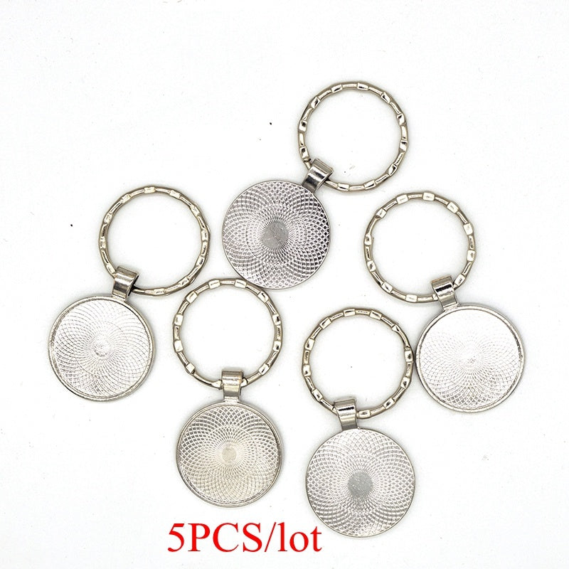5PCS Blank Keychain Pendant Base Handmade Key Chain Keyring Fit 25mm Glass Cabochon Diy Keyring Jewelry Finding Accessories