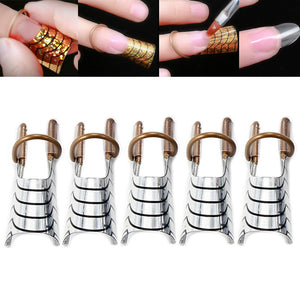 5PCs /Set  Nail Art  Guide Forms  Gel Polish Extended Builder Ring Stencil Sticker Decoration Manicure Accessories