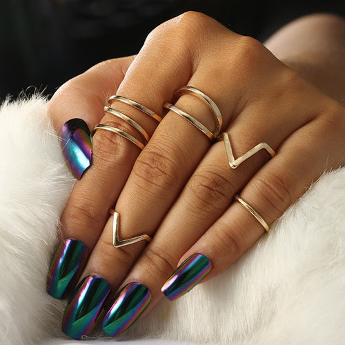 5Pcs/Lot Punk Rock Gold Color Midi Finger Ring Gold Color Wave Finger Jewelry Female Knuckle Ring Sets Anillos Accessories