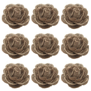 5pcs*Set Burlap Flowers Rose Embellishments for Weddings Decoration, Hair Accessories, Scrapbooking or Crafts AA8096