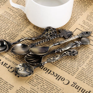 5pcs Vintage Spoon Royal Style Metal Carved Mini Coffee Tea Milk Dessert Spoon Kitchen Accessories Tableware Spoon for Snacks