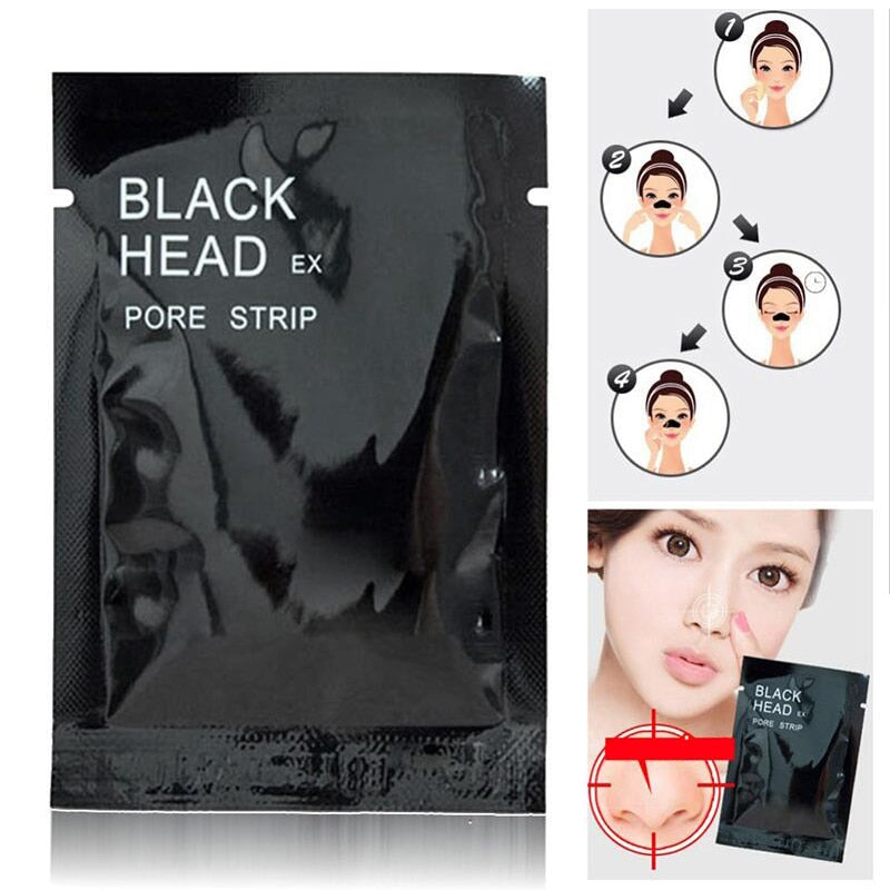 5pcs/lot Facial Black Mask Face Care Nose Acne Blackhead Remover Minerals Pore Cleanser Mask Black Head Strip maquiagem