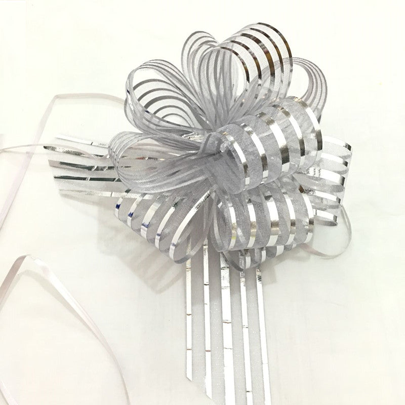5pcs/lot Large Organza  Pull Bow Ribbon for Craft , Wedding Decoration, silver Gift Packing 50mm    LH06