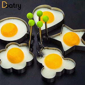5pcs/set Egg Mold Stainless Steel Biscuit Frying Egg Rings Mold 5 Shape Omelette Mould Egg Pancake Ring Form Fried Kitchen Tools