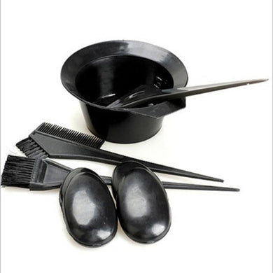 5pcs/set Plastic Hair Dye Styling Accessories 1 Color Mixing Bowl with 3 Brushes 1 Earshield Hair Coloring Tint Tools