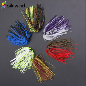 6 Bundles/50 Strands Fishing Silicone Skirts Bass Lure DIY Accessories Spinner Rubber Jig Carp Spinner Bait Fly Fishing Tool Z65