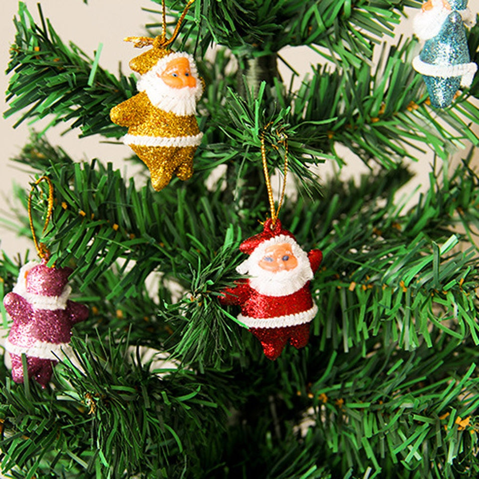 6 pcs Christmas Drop Ornaments Multi-Color Santa Claus Party Xmas Tree Hanging Decor