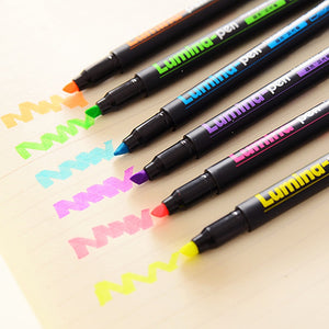 6 pcs/Lot Lumina highlighter set Fluorescent marker Color liner Scrapbooking Office accessories School supplies Neon caneta F718