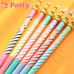 6 pcs/Lot Luxury crown ballpoint pen Color stripe ballpen pens zakka Stationery canetas material escolar school supplies F233