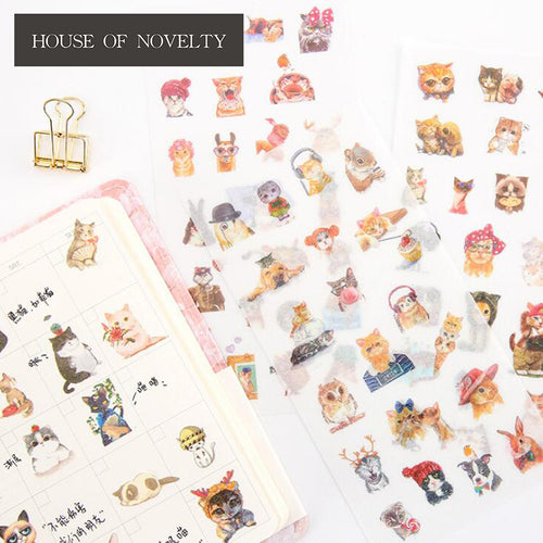 6 pcs/pack Funny Cat Decorative Stickers Adhesive Stickers DIY Decoration Diary Stationery Stickers Children Gift