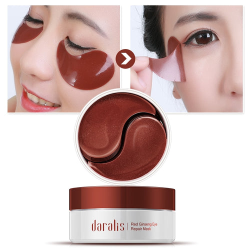 60pcs Red Ginseng Eyes Patches Dark Circle Remover Eye Bag Anti-wrinkle Young Collagen Eye Mask Sheet Pads for Eye Skin Cares