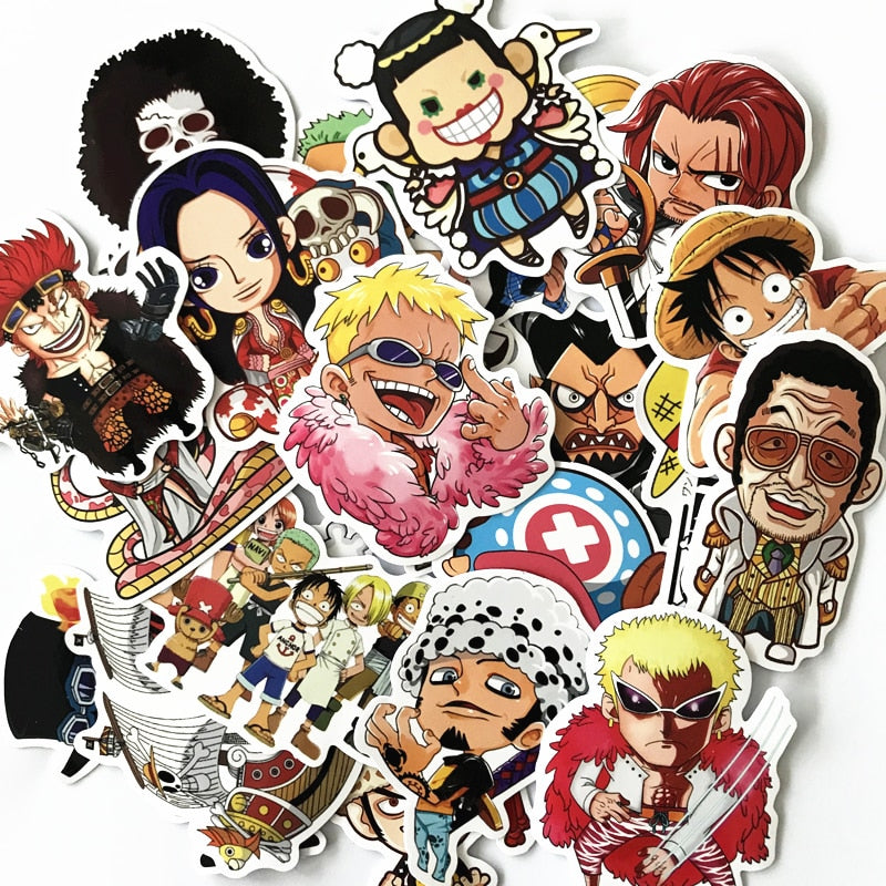 61 Pcs/Lot Anime 2019 ONE PIECE Luffy Stickers For Car Laptop PVC  Backpack Home Decal Pad Bicycle PS4  waterproof Decal