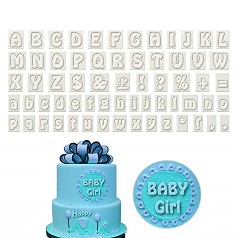 64 Piece Plastic Alphabet Cookie Cutter Set Fondant Cutters Mold Upper and Lower Case Art Deco Number Letter Stamps