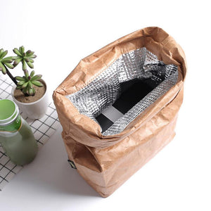 6L Brown Paper Lunch Bag Environmentally Friendly Reusable Lunch Box Durable Insulated Thermal Kraft Paper Bag Covered